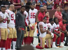 Multiple players on the 49ers kneeled during the National Anthem in support of Colin Kaepernick.