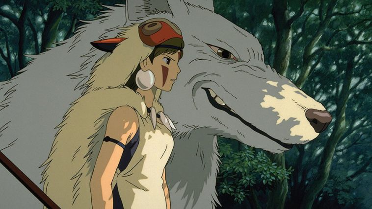 This is a scene from the film were Princess Mononoke is with Moro-no-kimi (the wolf goddess who raised her).