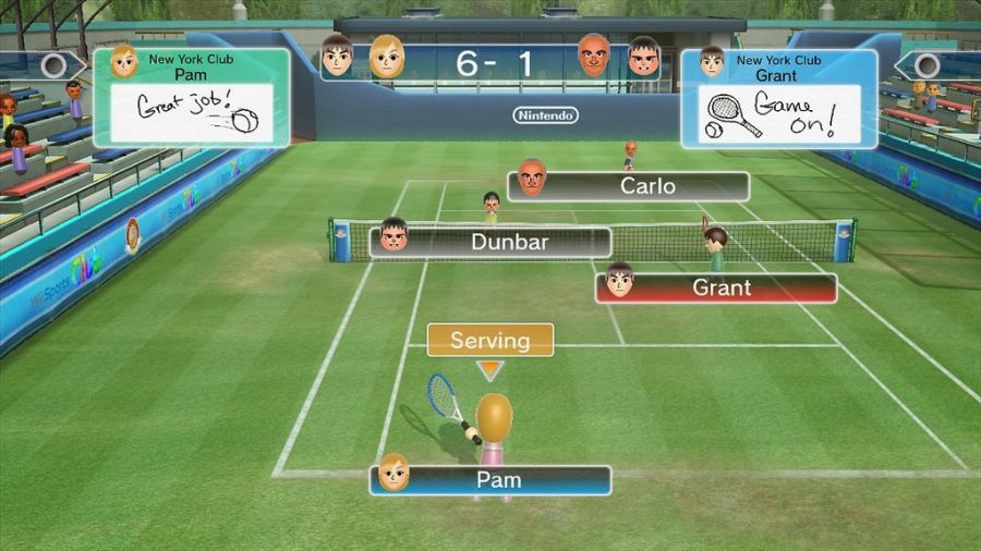 This is an image from Wii Sports, players playing one of the sports, Tennis.