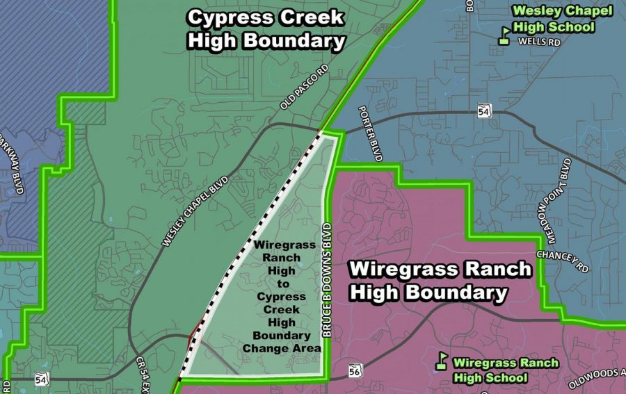 The current map plan for rezoning, placing Seven Oaks in CCHS.