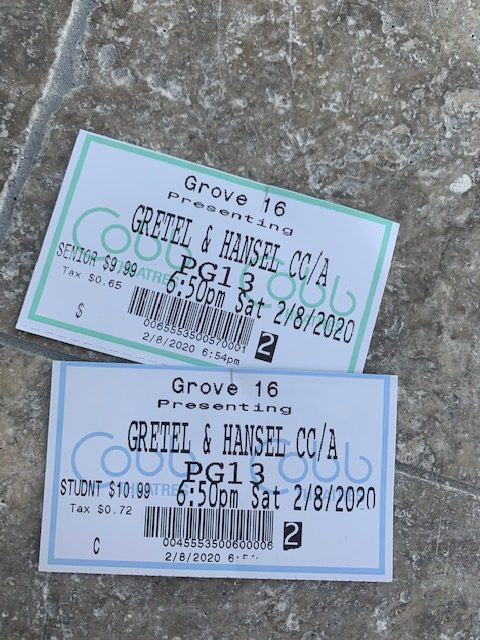 The movie tickets from the movie Gretel and Hansel.