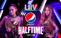Promotional poster for the Super Bowl halftime show featuring Jennifer Lopez and Shakira.