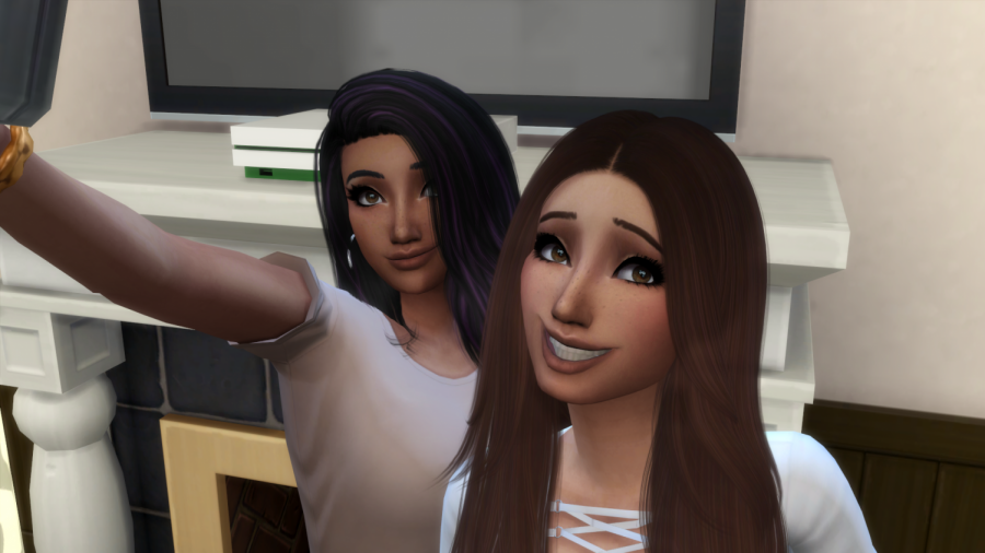 Two of my favorite sims smiling for a picture