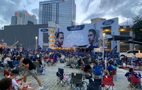 Fans gathered outside Amelie Arena to watch game six of the Stanley Cup series.