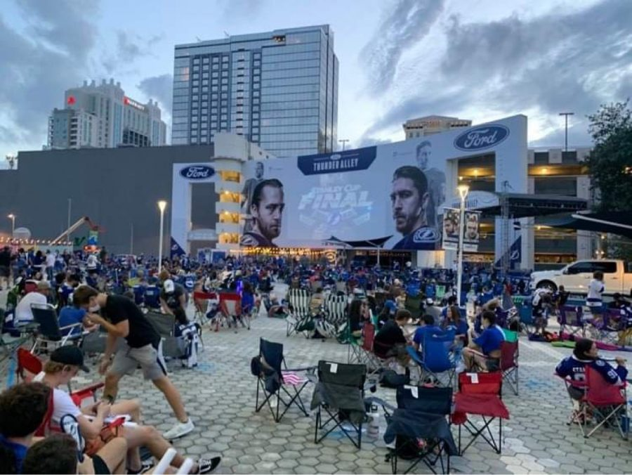 Fans+gathered+outside+Amelie+Arena+to+watch+game+six+of+the+Stanley+Cup+series.