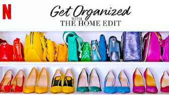 The duo organizes in three steps. Edit, categorize, and contain. As seen in this picture, they organized the shoes by color.