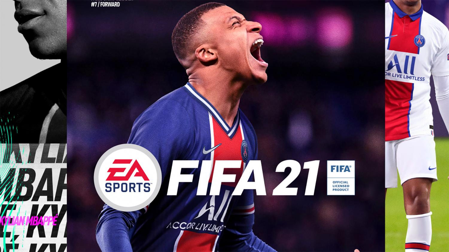"""New cover star, Kylian Mbappe, rocks his PSG colors in """"FIFA 21""""."""