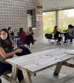 Students enjoy lunch in the fresh-air outside
