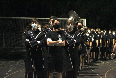 The WRHS Marching Band after playing at the schools football game.