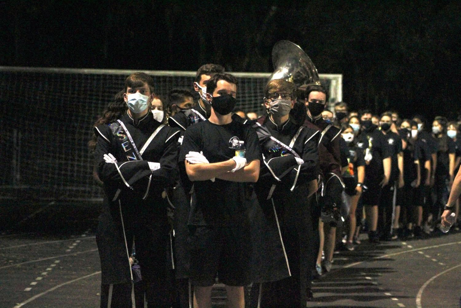 The WRHS Marching Band after playing at the school