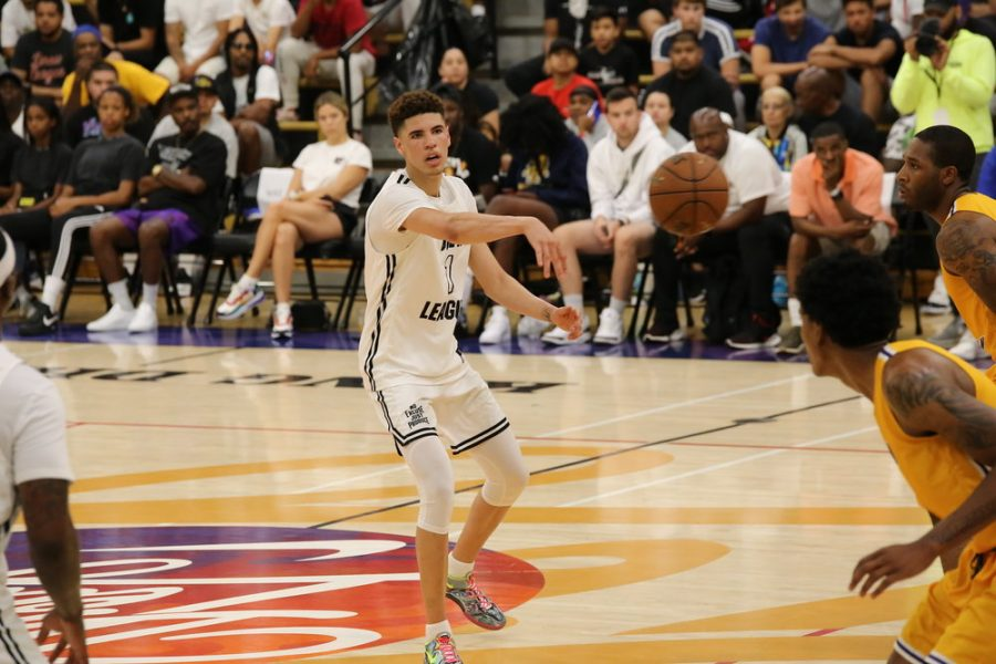 LaMelo Ball playing in the Drew League during 2019.