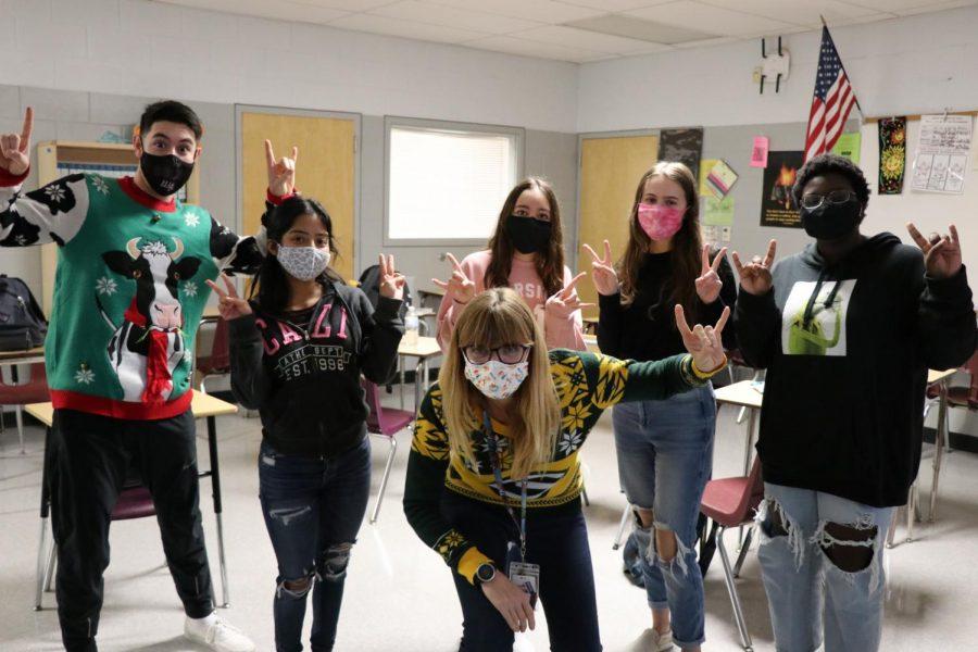 Kimberly Krook and her seniors on the last week of school before winter break.