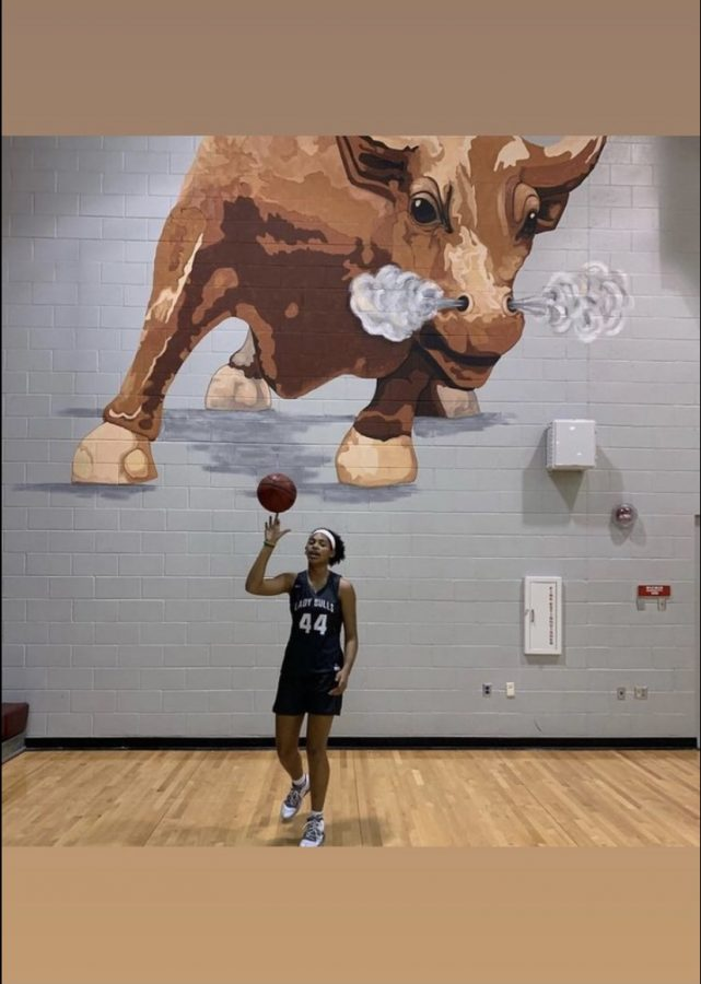 Zoi Evans demonstrates her ball control on her home court.