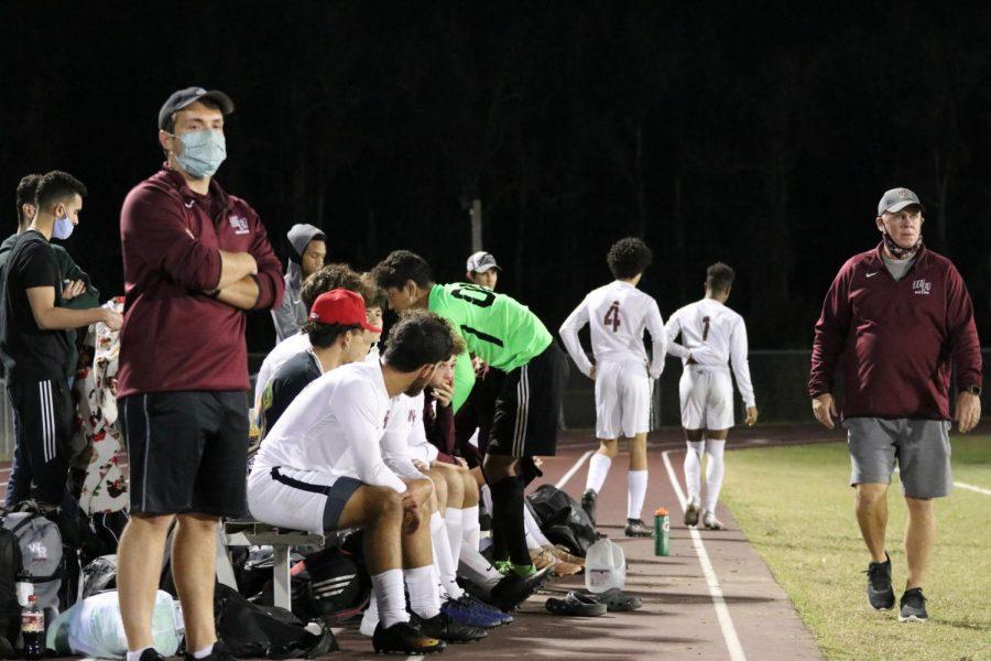 Boys soccer varsity bench.