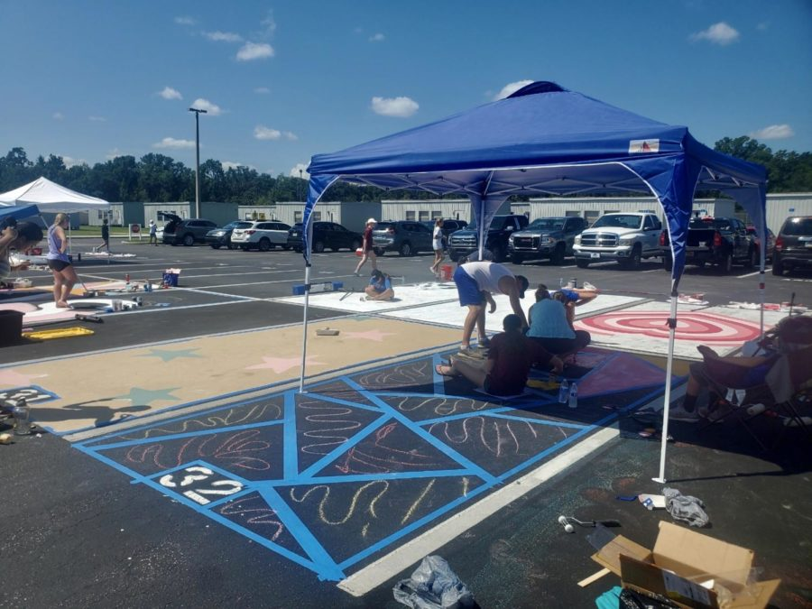 Students continued to work hard and push through to complete their spots, despite the heat.
