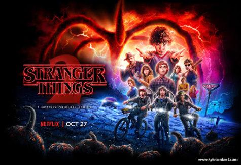 The official poster for Stranger Things season 2 designed by Kyle Lambert.