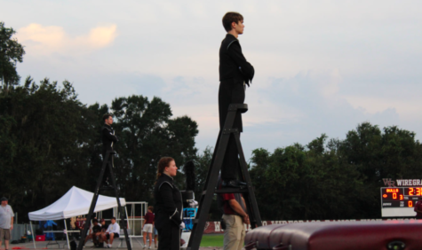 The three drum majors of the band this season are: Anastasia Marenda, Nathan Mulford, and Dylan Belcher.