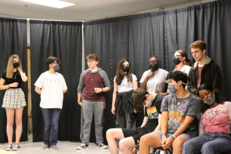Actors rehearsing their lines and blocking for the play on October 8 and 9.